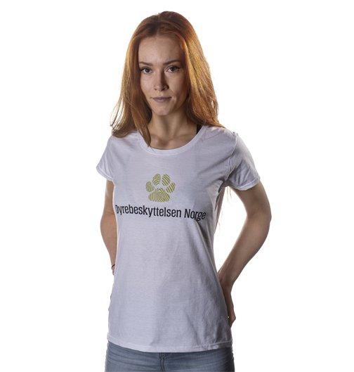 Hvit Dyrebeskyttelsen Norge t-skjorte