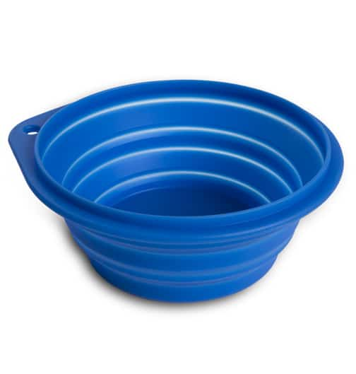 Blå sammenleggbar mat-/vannskål