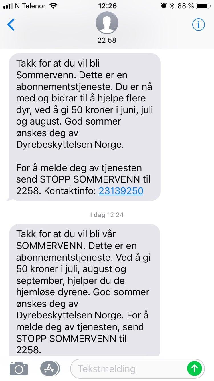 Skjermdump av sms fra Dyrebeskyttelsen Norge
