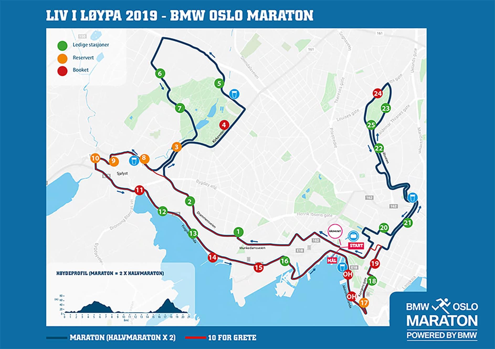 Plasseringer kart 2019 Oslo Maraton