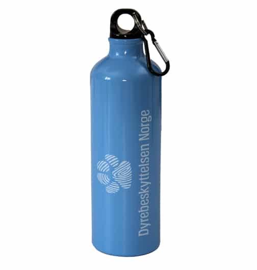 Lyseblå vannflaske med Dyrebeskyttelsen Norges logo