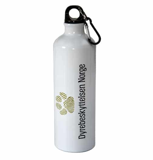 Hvit drikkeflaske med Dyrebeskyttelsen Norges logo