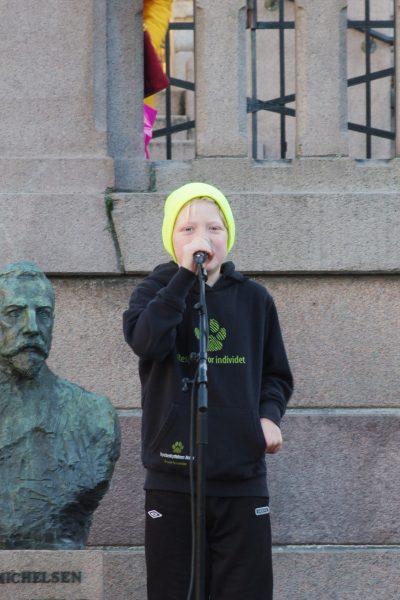 Dagens yngste appellant var Lars Kristian, som forklarte hvorfor det er viktig at vi tar bedre vare på dyrene. Foto: Bård Kirkeeng.