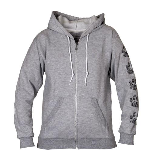 Ny grå hettejakke med poter og logo