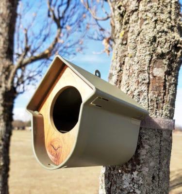 Fuglemater hus olivengrønn