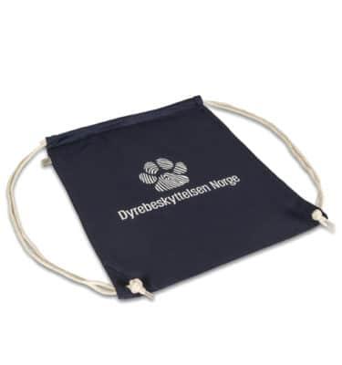 Gymbag med Dyrebeskyttelsen Norge logo liggende