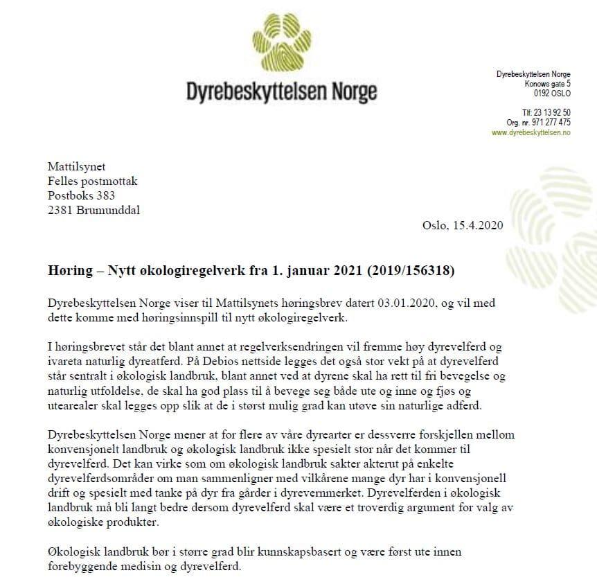 Forside høringssvar økologiregelverk - Dyrebeskyttelsen Norge