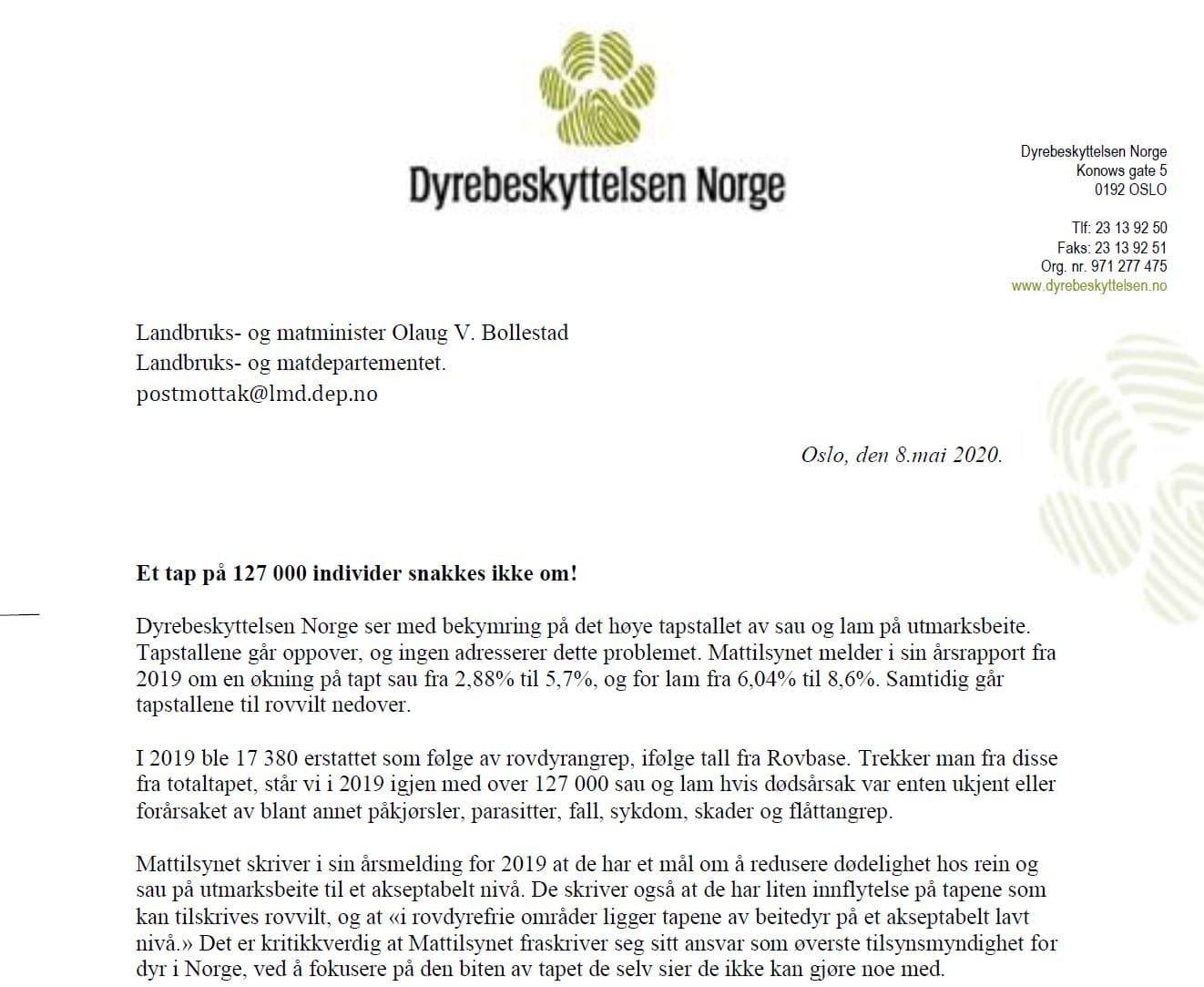 Bilde brev til landbruksministeren om tap av sau på beite