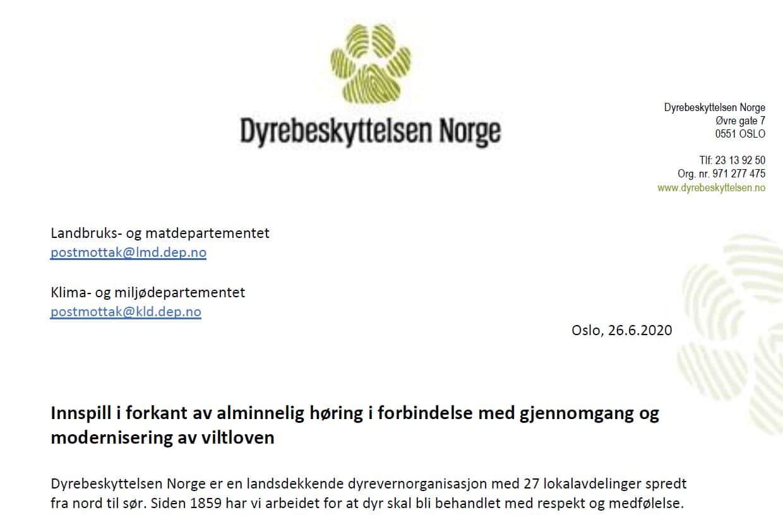 Bilde av brev til departementet rundt høringssvar til modernisering av viltloven