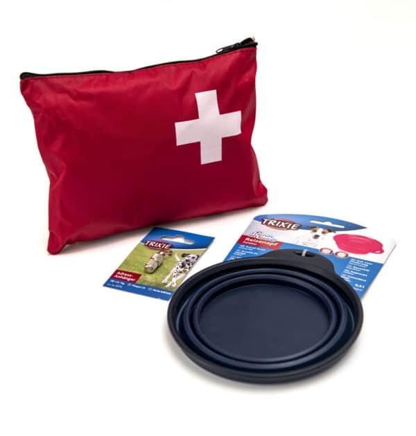 Stor turpakke med førstehjelpskrin, vannskål og flåttpinsett